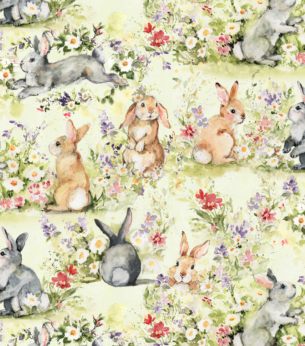 Easter Cotton Fabric-Watercolor Bunnies