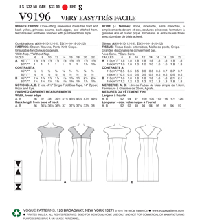 Vogue Pattern V9196 Misses\u0027 Princess Seam Dress with Yokes-Size 6-14