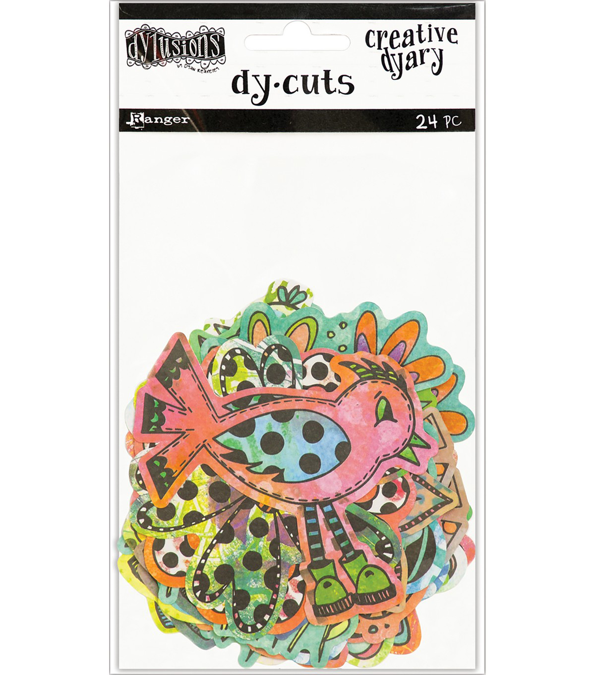 Dyan Reaveley\u0027s Dylusions 24 pk Creative Dyary Die Cuts-Birds & Flowers