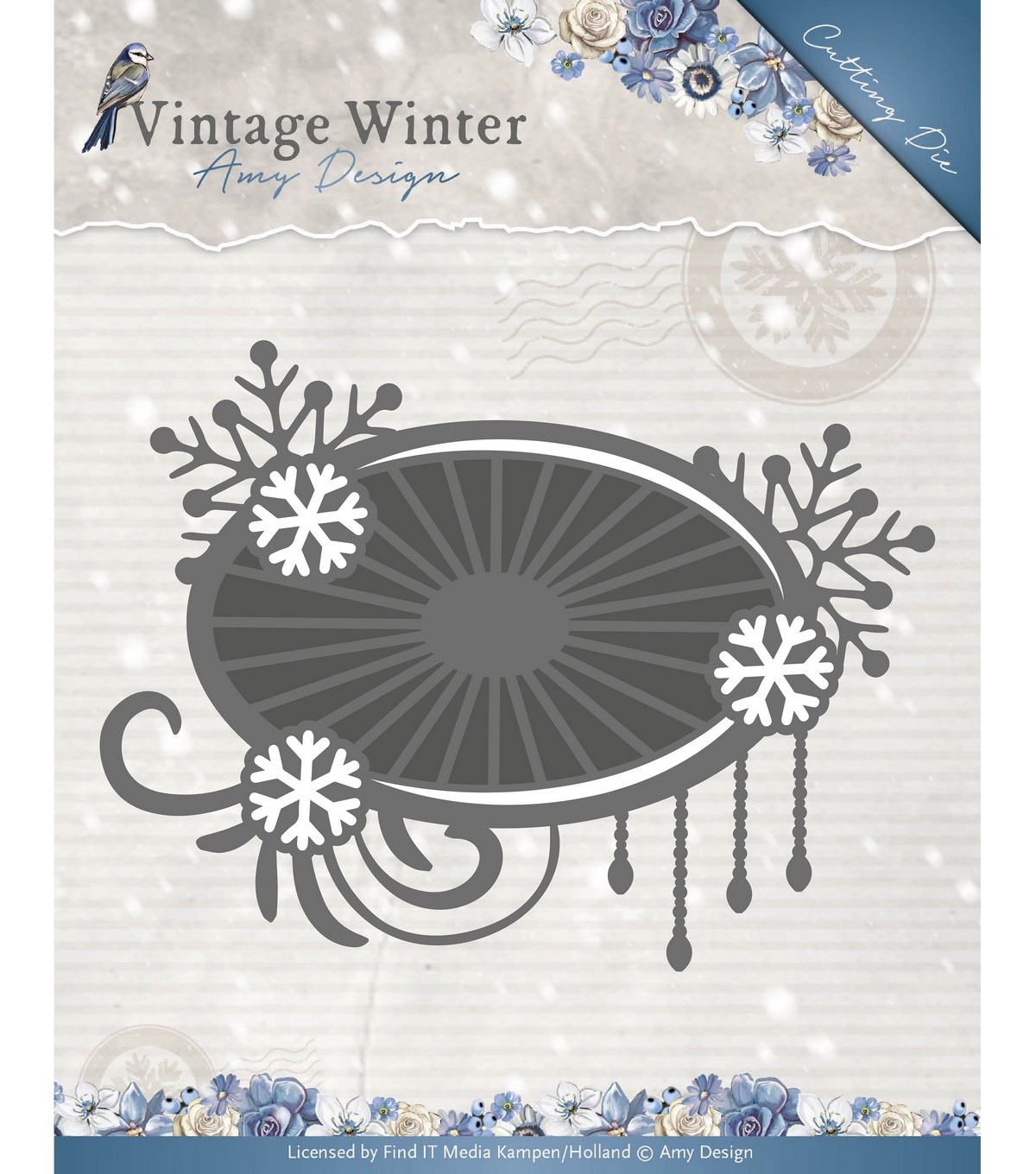 Find It Trading Amy Design Vintage Winter Die-Snowflake Swirl Label