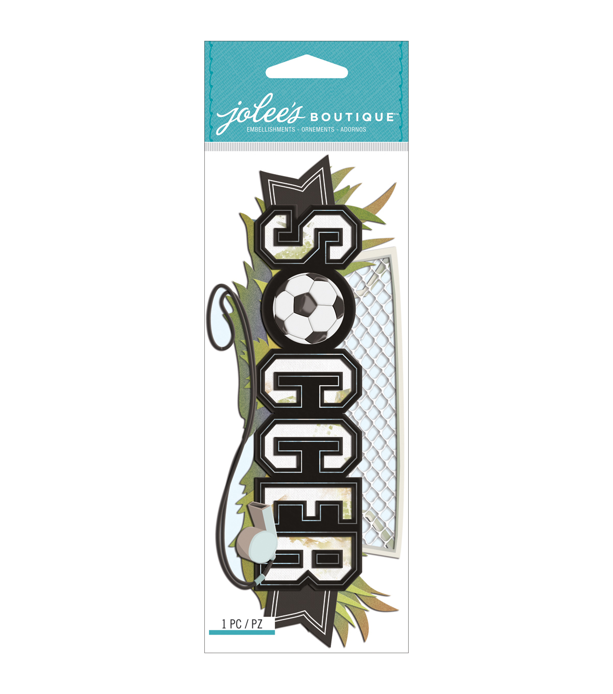 Jolee\u0027s Boutique Title Wave Dimensional Stickers-Soccer