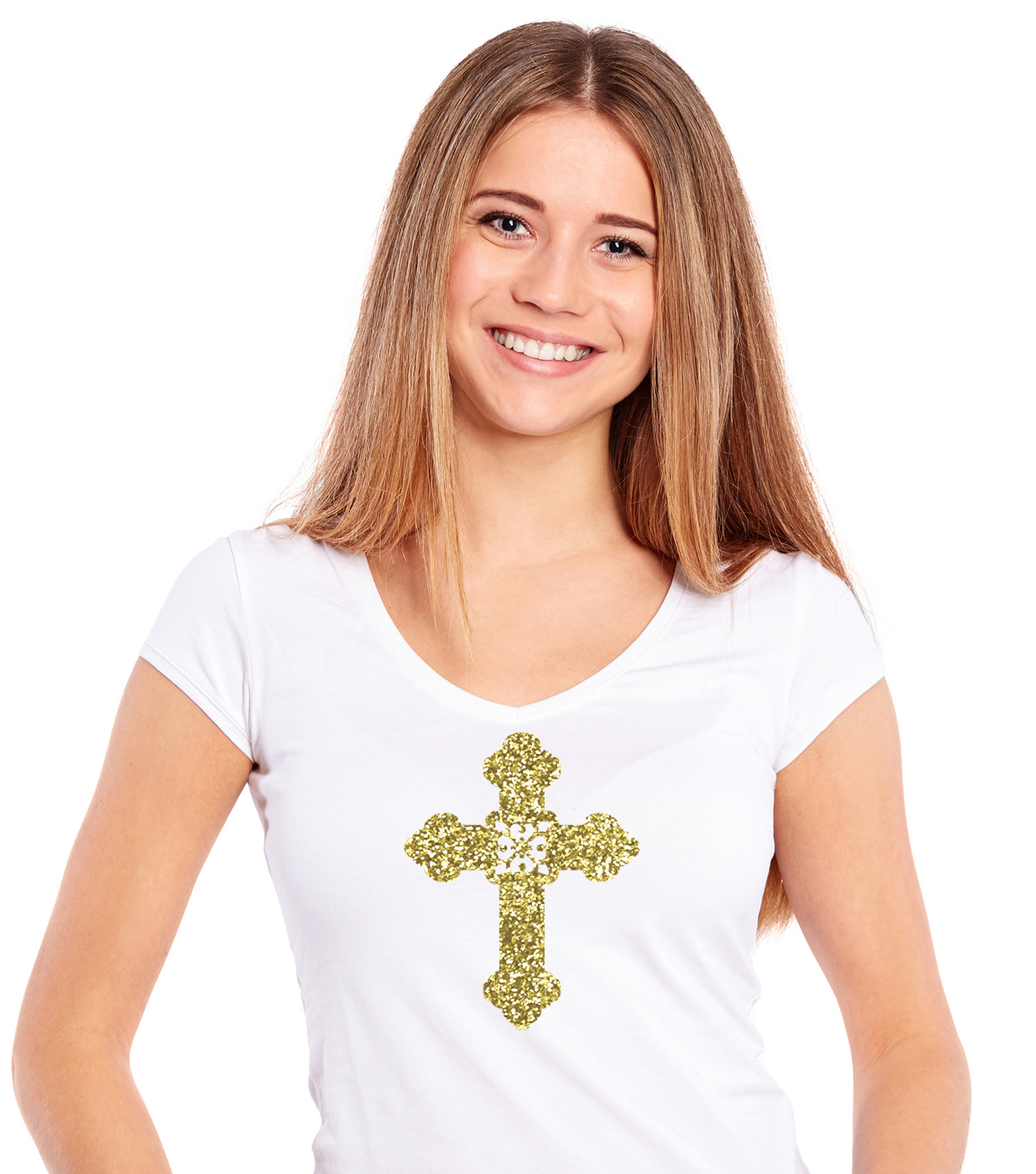 Momenta Cross Chunky Glitter Iron-on Art-Gold