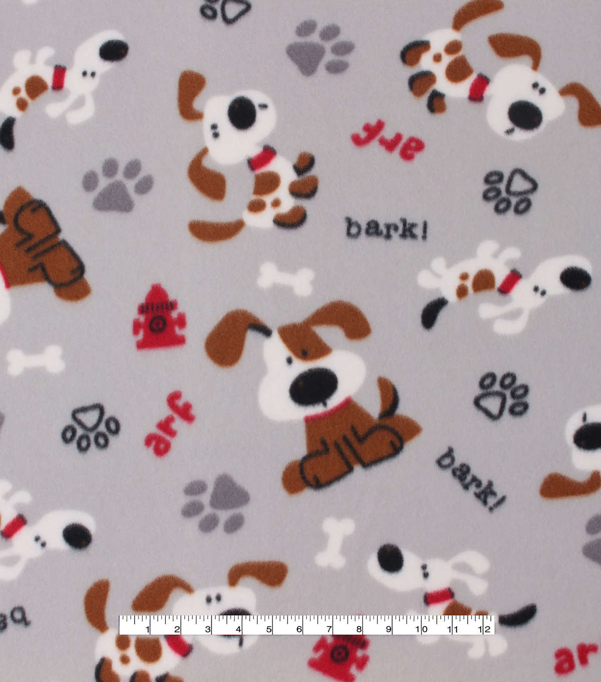 Blizzard Fleece Fabric -Tossed Dog Patches
