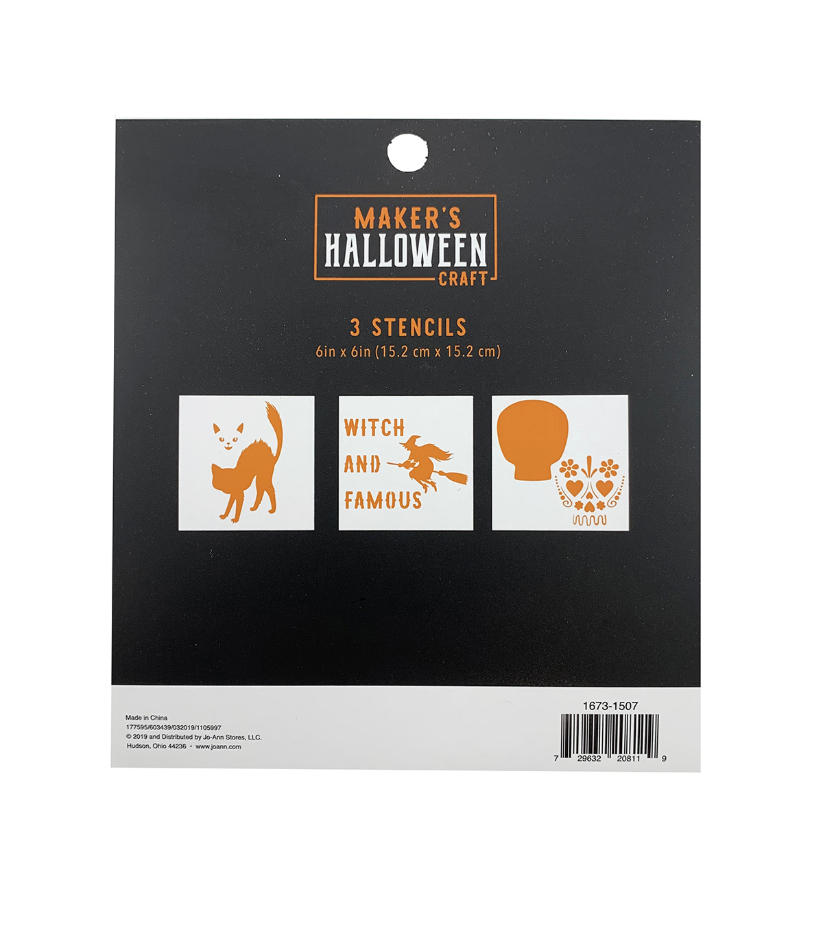 Maker\u0027s Halloween Craft 3 pk 6\u0027\u0027x6\u0027\u0027 Stencils-Witch & Famous