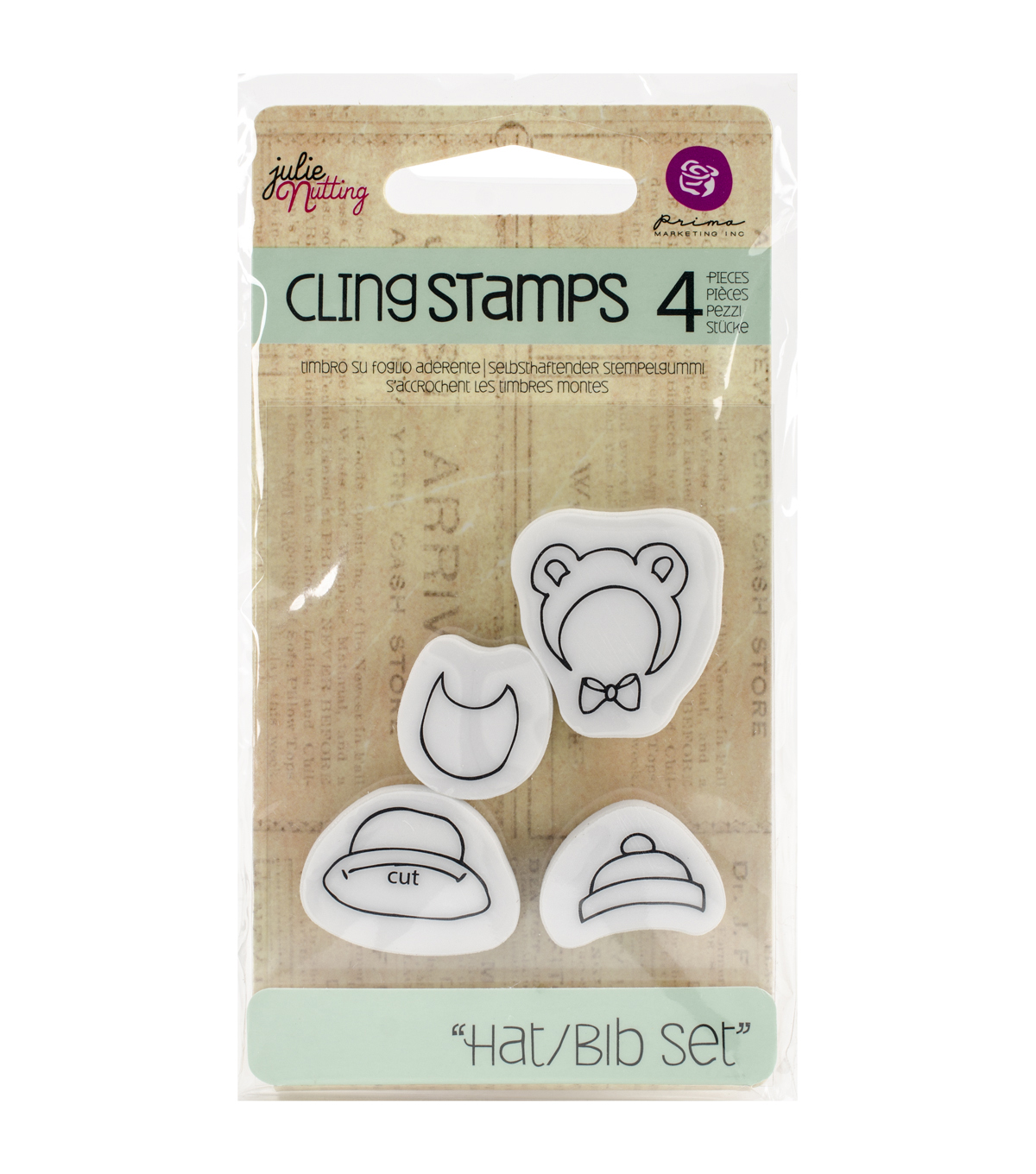 Prima Marketing Julie Nutting Cling Rubber Stamps-Baby Hat & Bib Set