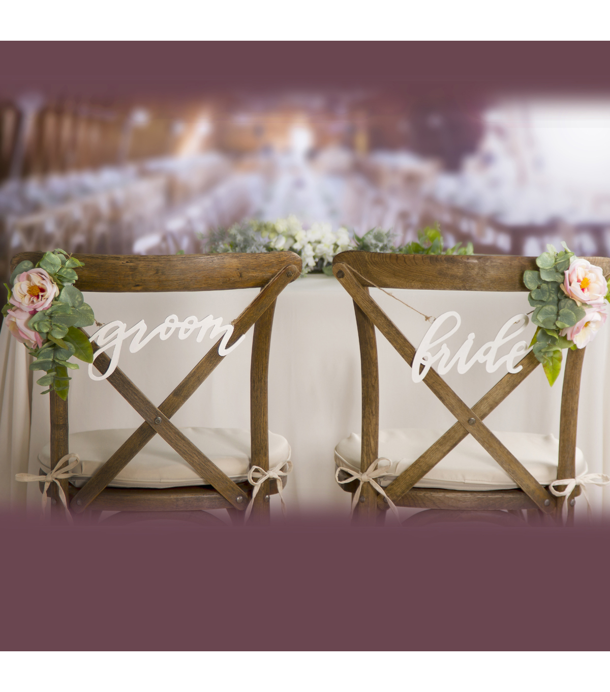 Save The Date Pack of 2 Chair Signs-White Bride & Groom