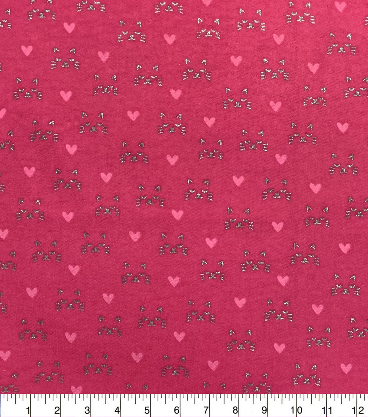 Metallic Flannel Fabric-Cat Face Metallic