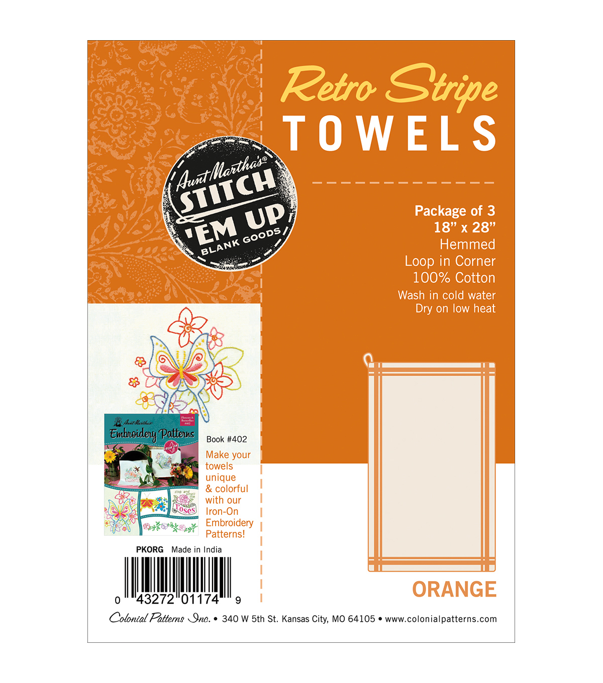 Stitch \u0027Em Up Vintage Box Stripe Dish Towels 18x28 3pk- Orange Natural