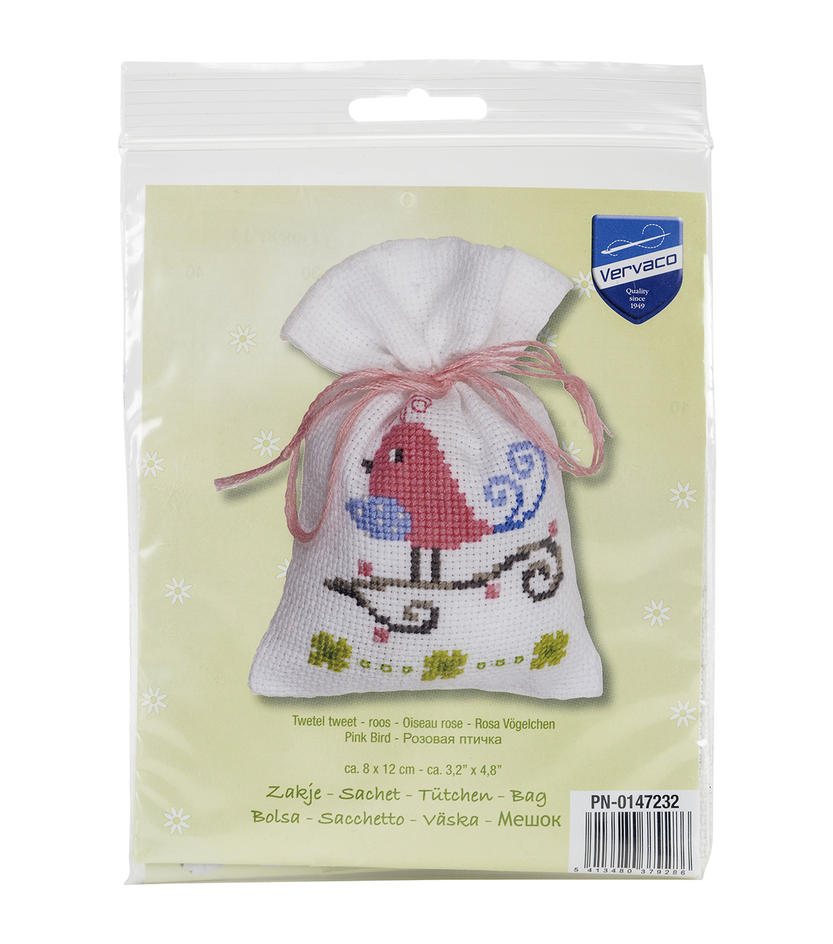 Vervaco Aida Counted Cross Stitch Kit-Pink Bird Bag