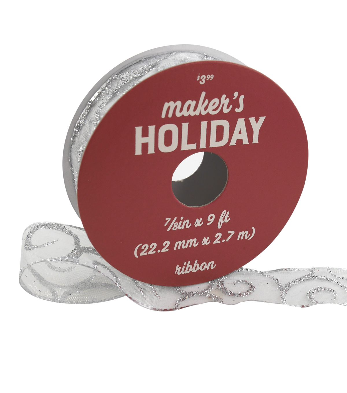 Maker\u0027s Holiday Christmas Ribbon 7/8\u0027\u0027x9\u0027-Silver Glitter Swirls on White