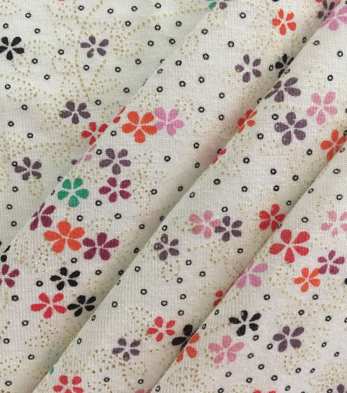 Knit Prints Rayon Spandex Fabric-Ivory Dotty Foil Floral