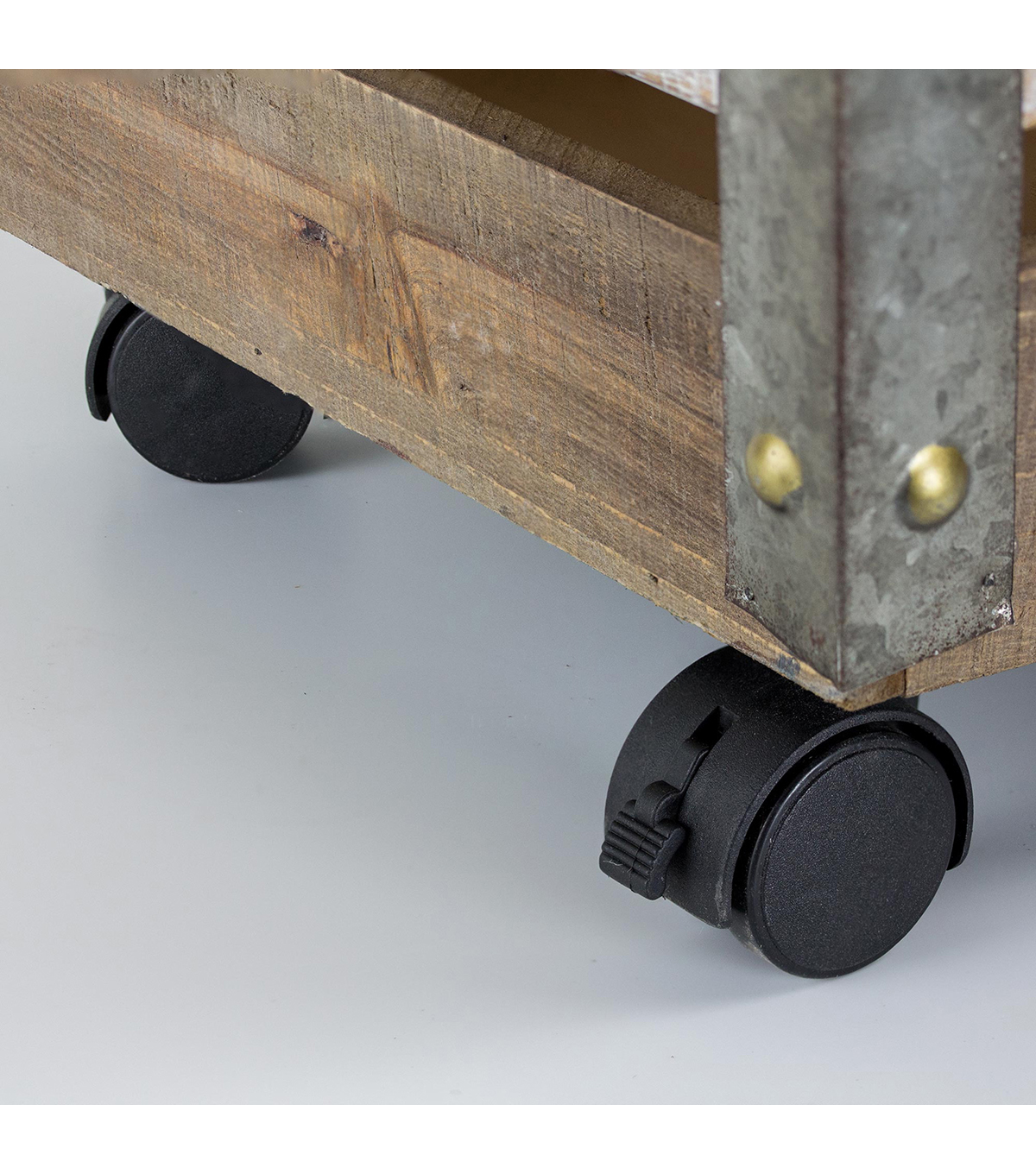 Furniture Finds 13\u0022 Wood & Metal Storage Crate with Wheels