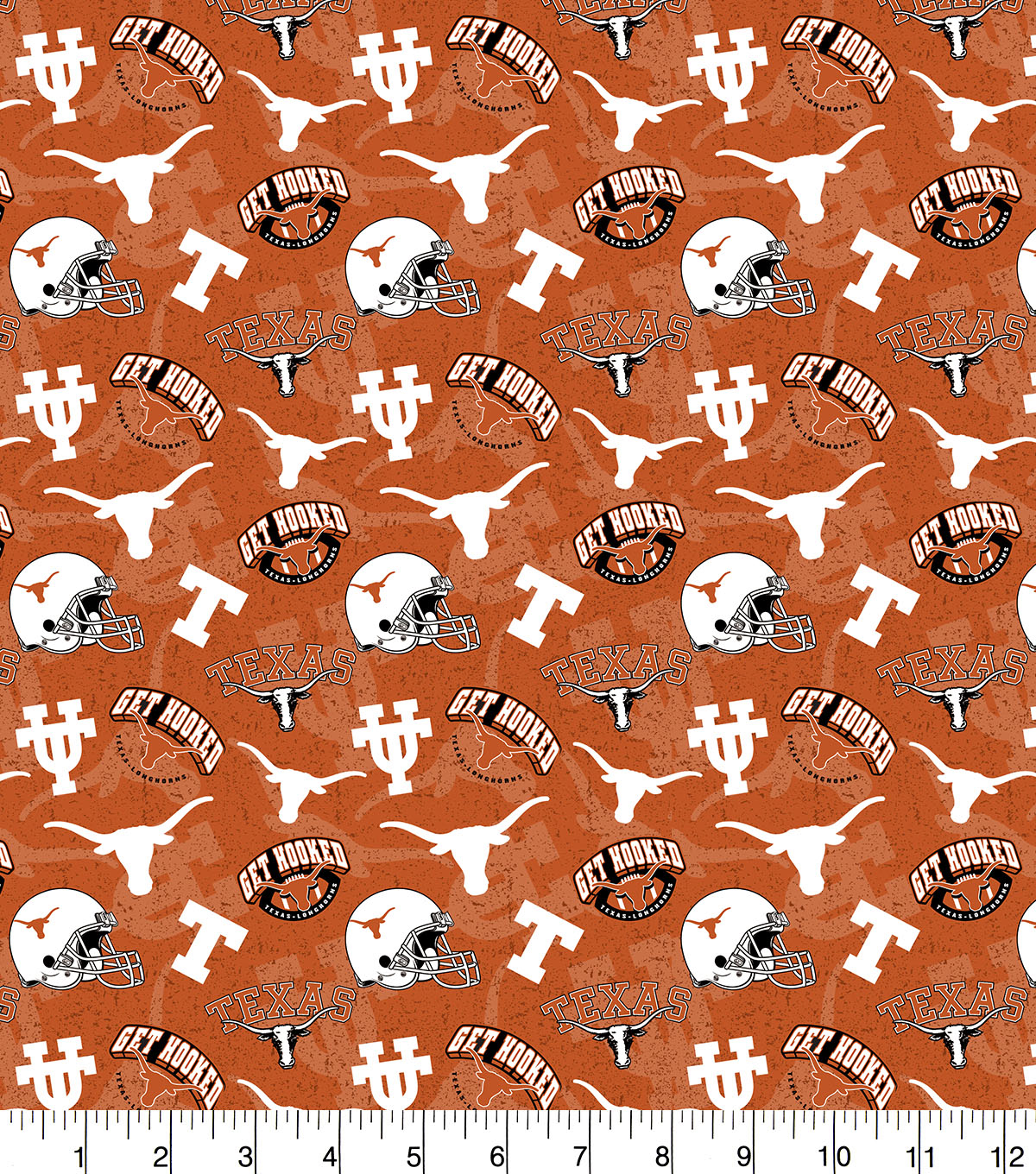 University of Texas Cotton Fabric-Tone on Tone