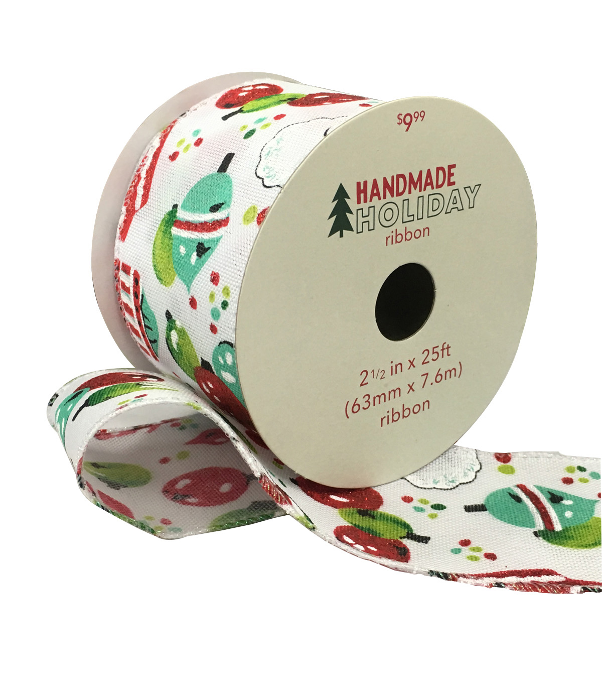 Handmade Holiday Christmas Ribbon 2.5\u0027\u0027x25\u0027-Ornaments on White