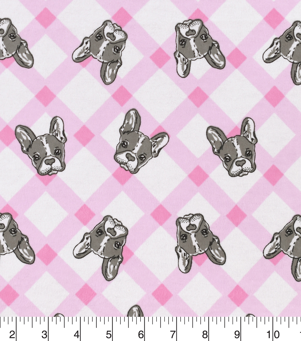 Snuggle Flannel Fabric -French Bulldogs on Plaid