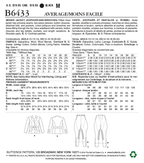 Butterick Pattern B6433 Misses\u0027 Jacket, Jodhpurs & Breeches-Size 6-14