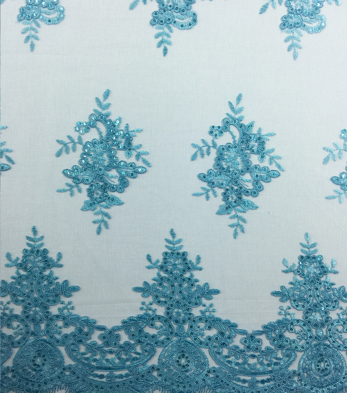 Corded Sequin Fashion Fabric 49\u0027\u0027-Blue Radiance Embroidered