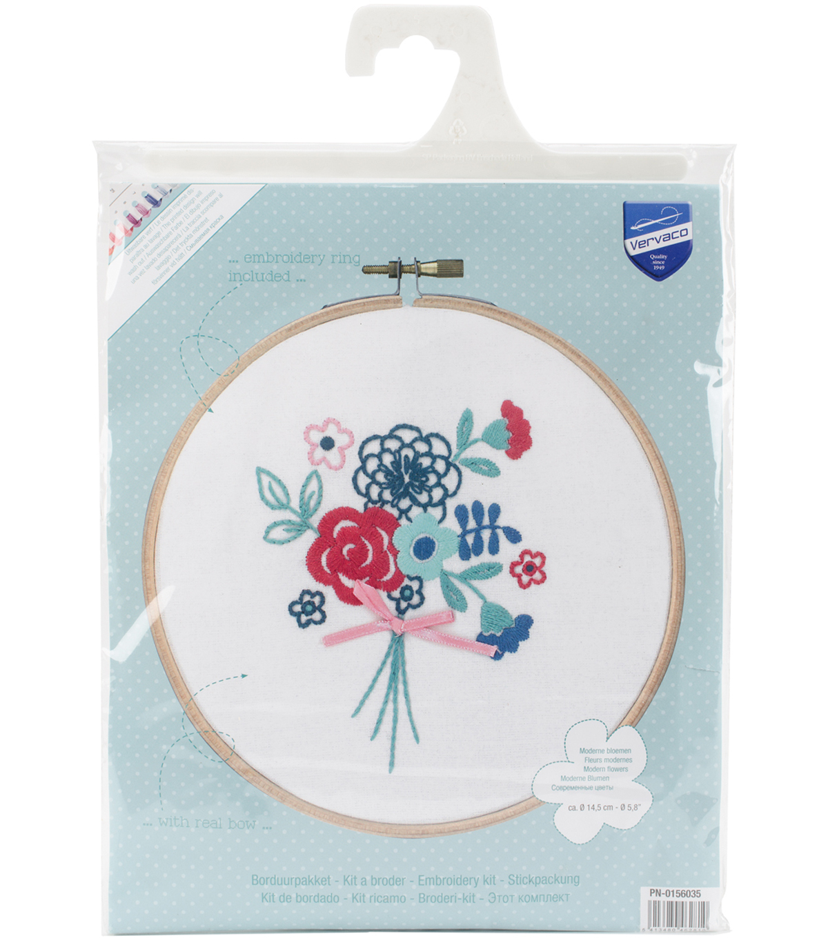 Vervaco 58 Round Stamped Embroidery Kit Modern Flowers With Bow