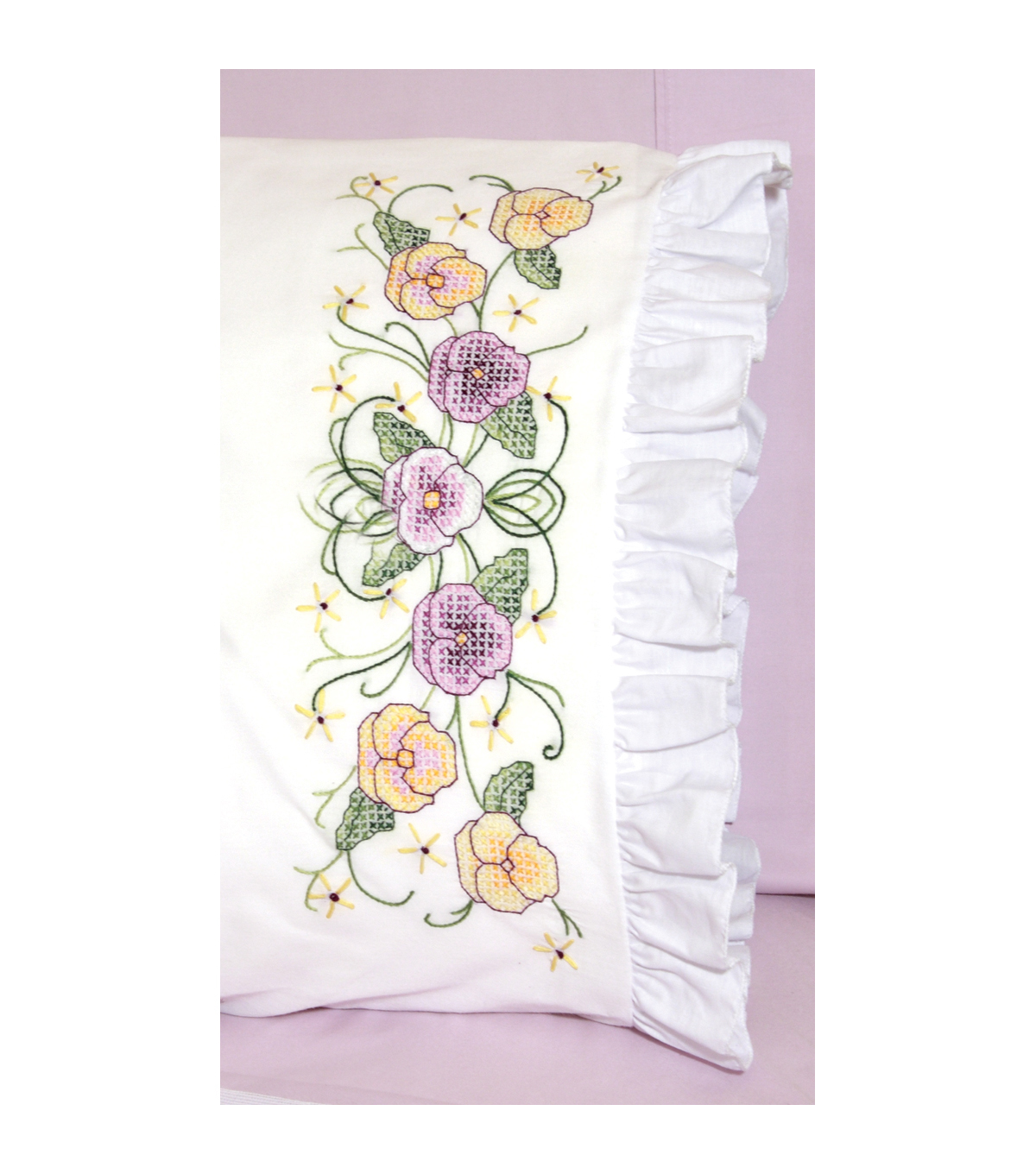 Fairway Stamped Lace Edge Pillowcase Pansy