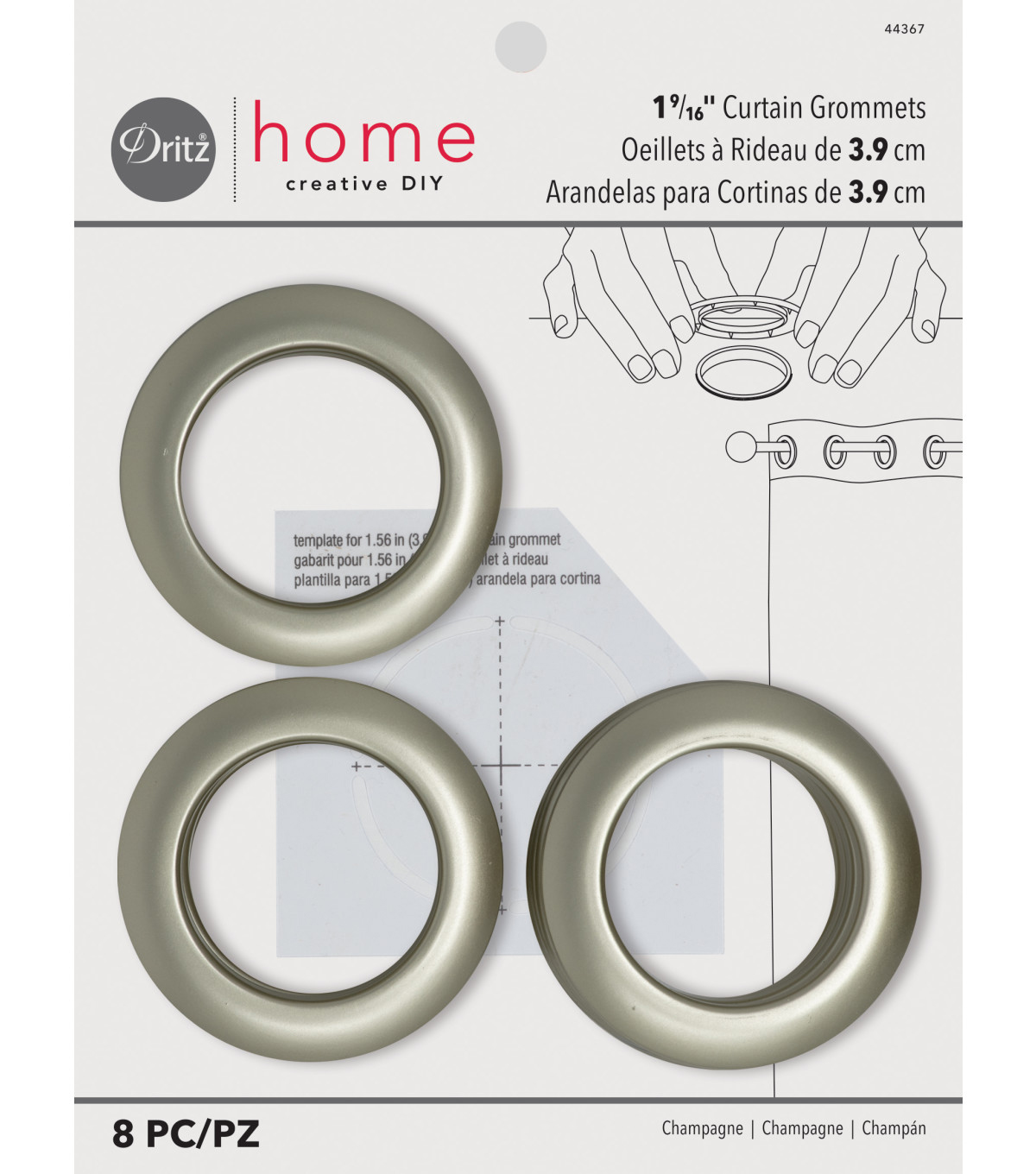 Dritz Home 1.56\u0027\u0027 Curtain Grommets 8pcs Brass, Champagne