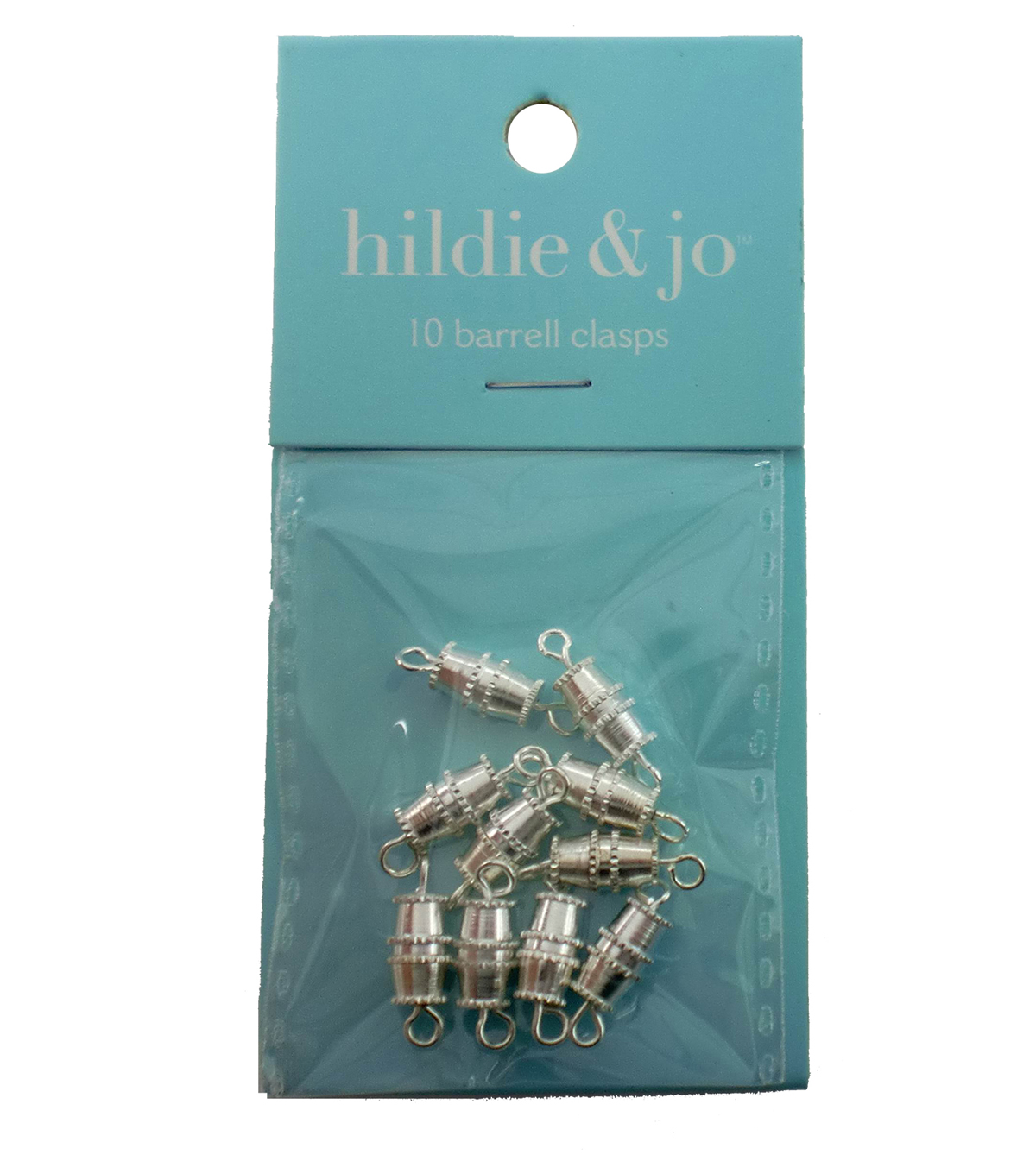 hildie & jo 10 Pack Barrel Clasps-Silver