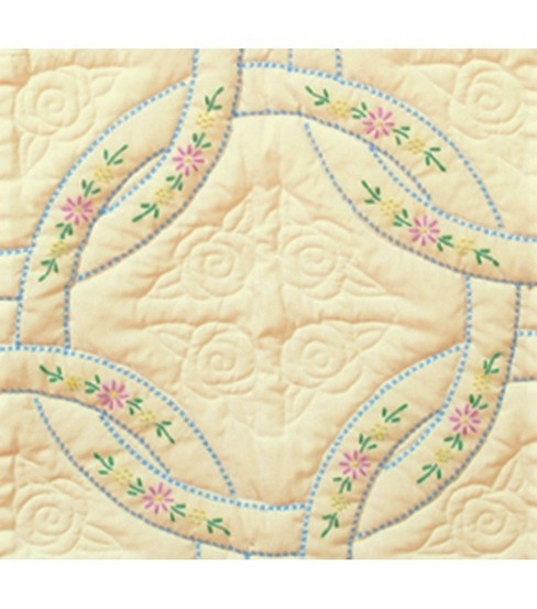 Jack Dempsey Stamped Ecru Quilt Blocks Interlocking Wedding Rings