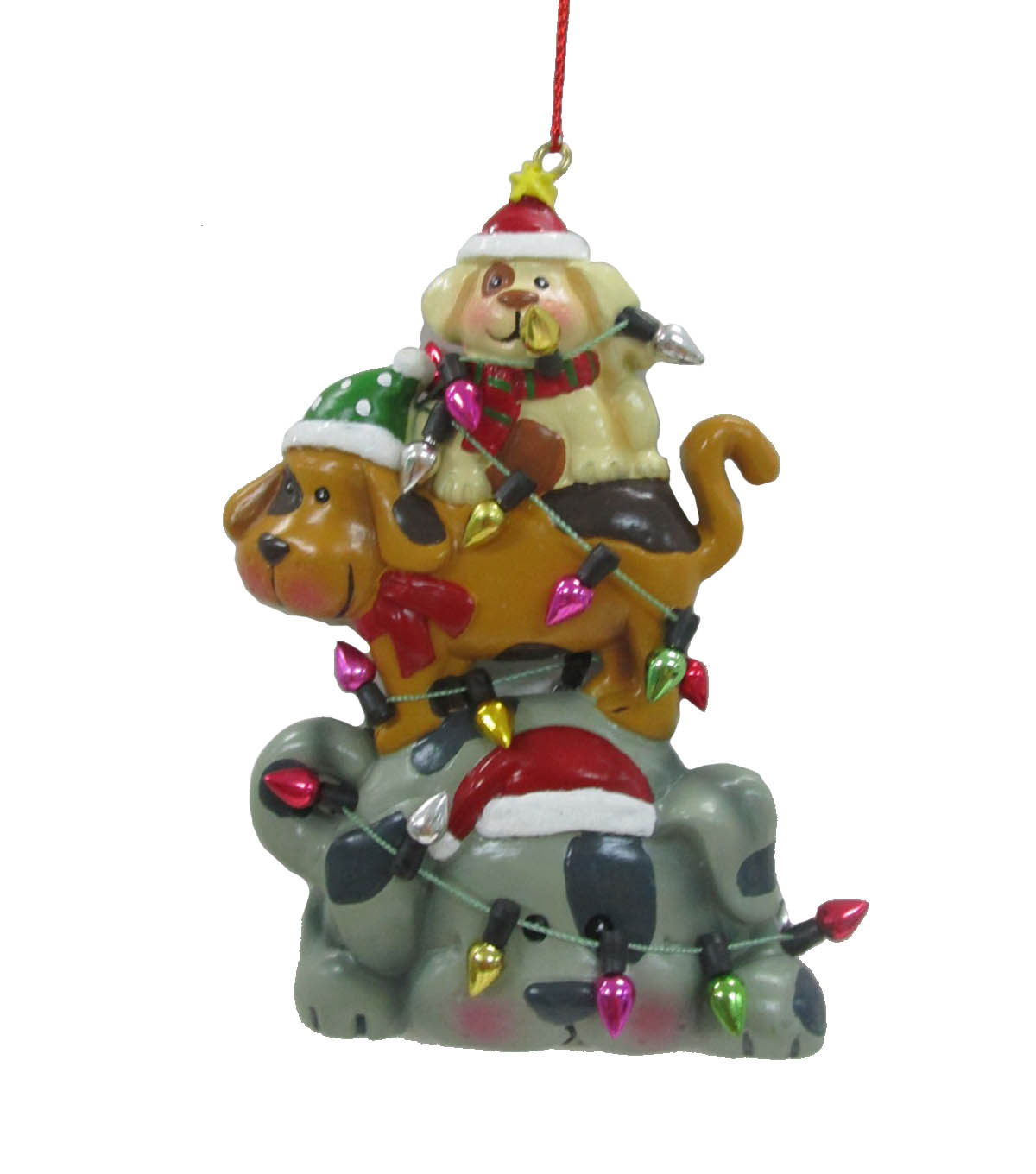 Maker\u0027s Holiday Christmas Stacked Dogs Wrapped in Lights Ornament