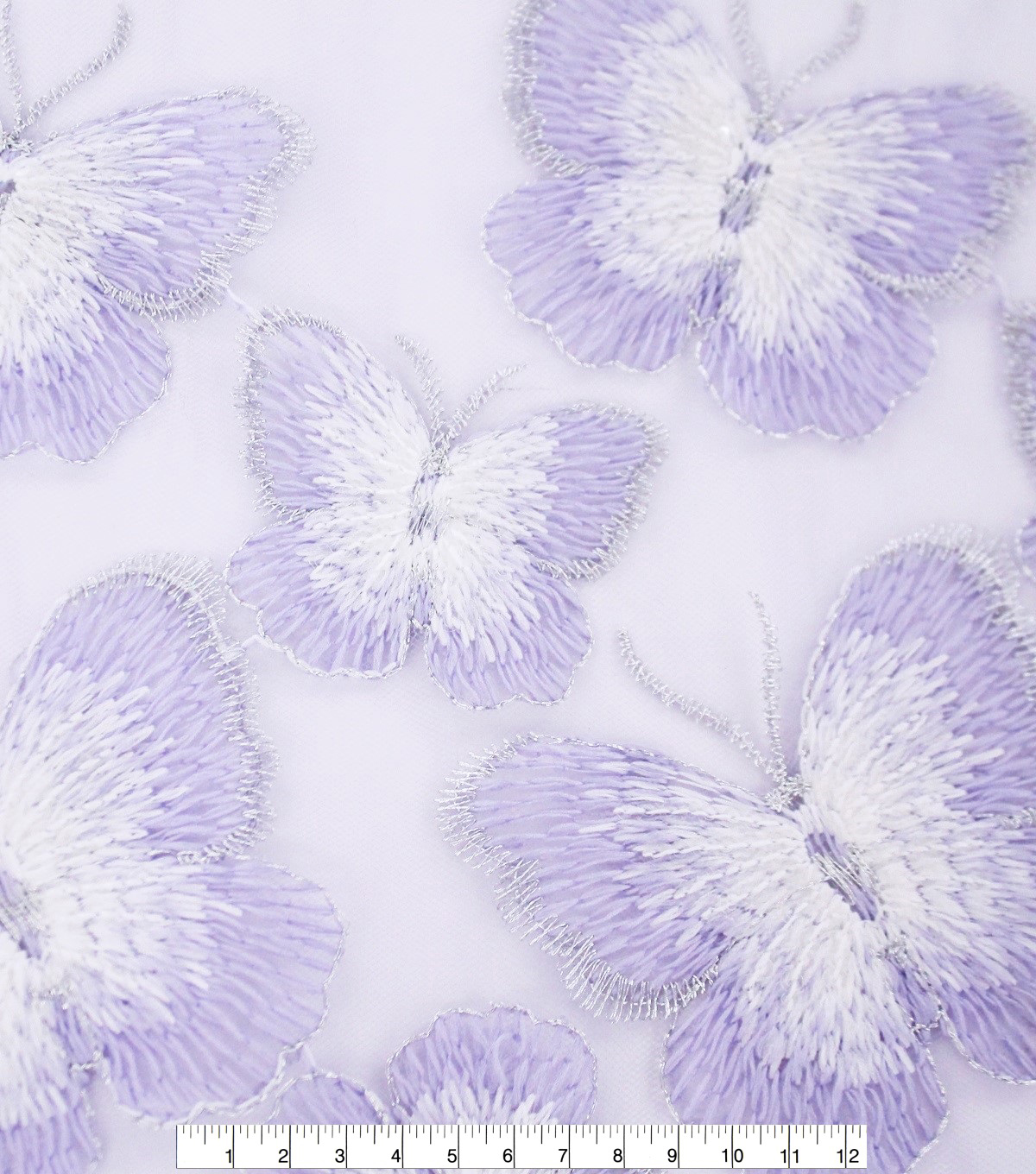 Sew Sweet Embellished Mesh Fabric 54\u0027\u0027-Butterfly with Purple Border