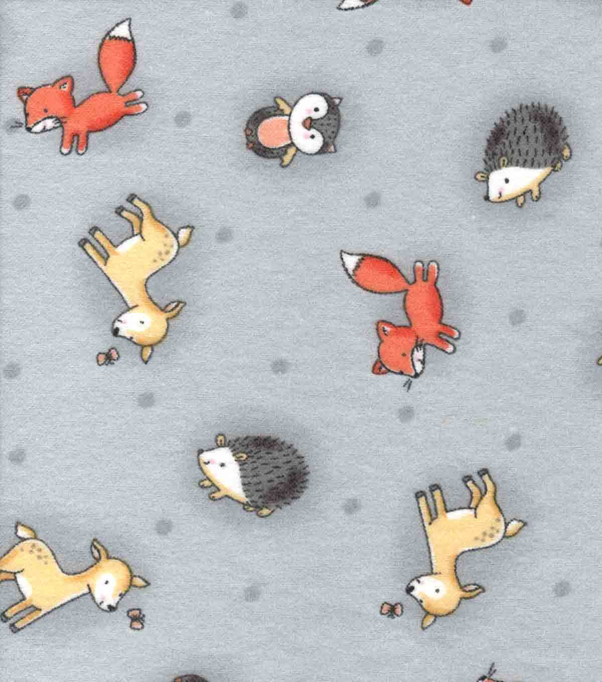 Nursery Flannel Fabric -Woodland Animals Tossed on Gray