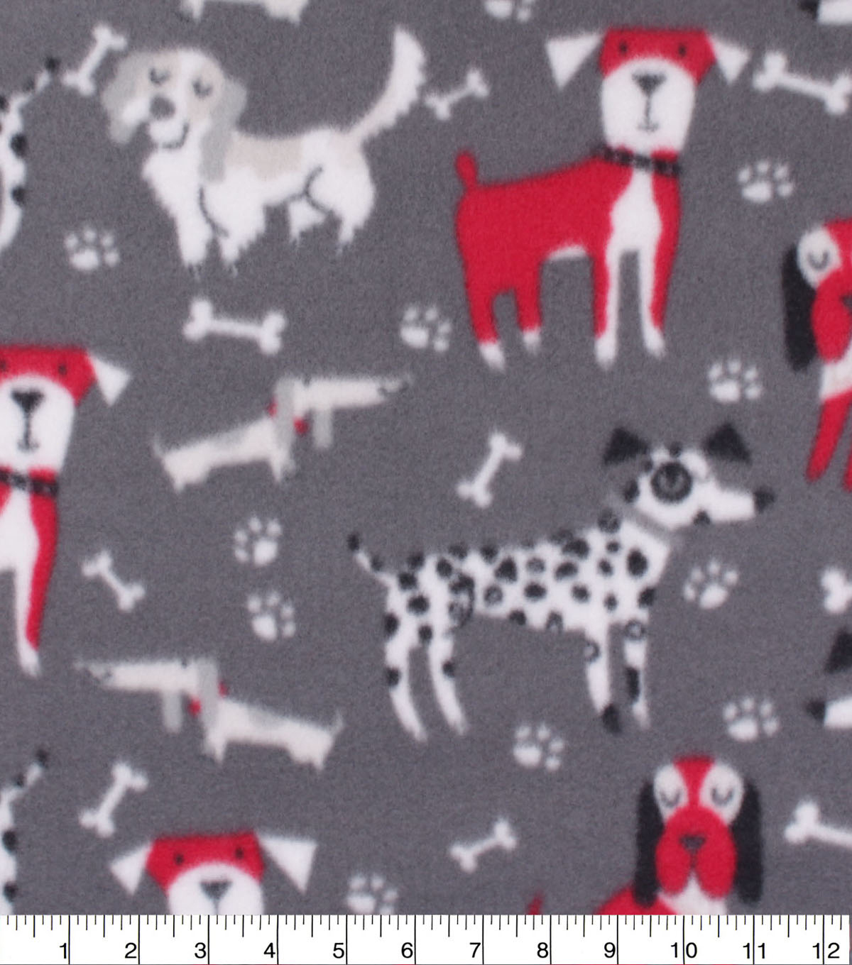 Blizzard Fleece Fabric-Big Dogs on Black, Red & White
