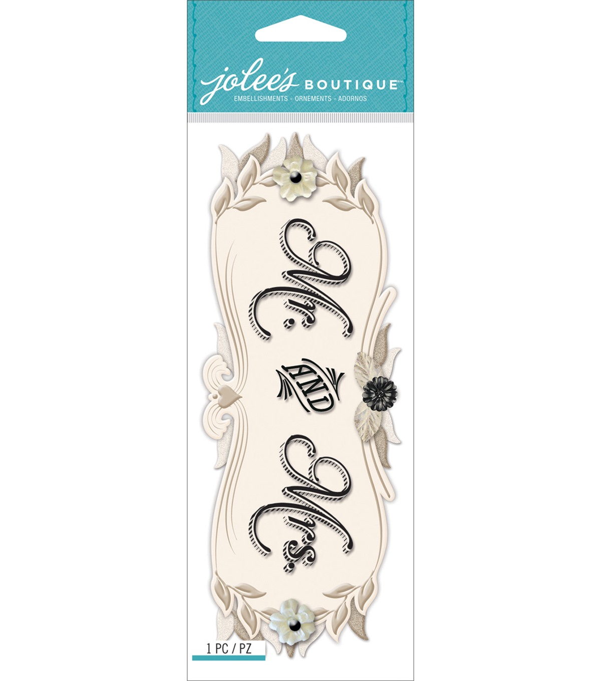Jolee\u0027s Boutique Title Waves Dimensional Stickers-Mr. & Mrs.