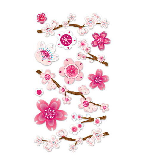 EK Success Vellum Stickers-Cherry Blossom