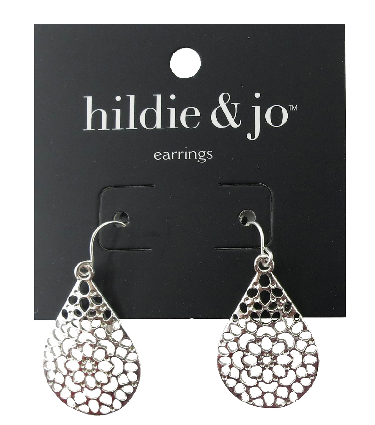 hildie & jo 1.13\u0027\u0027x0.75\u0027\u0027 Teardrop Cut Out Silver Earrings