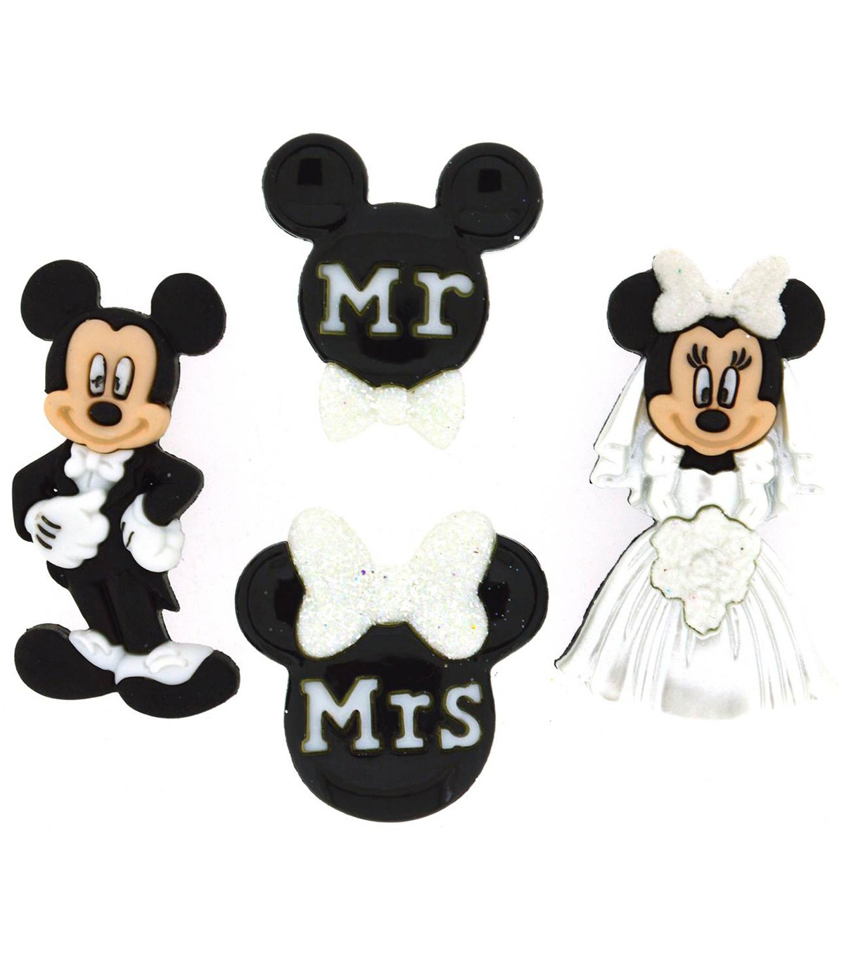 Jesse James Beads Dress It Up 4 pk Disney Mickey & Minnie Wedding Button
