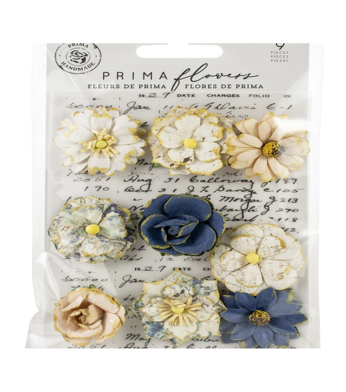 Prima Marketing Georgia Blues Mulberry Paper Flowers 9/Pkg-Montgomery