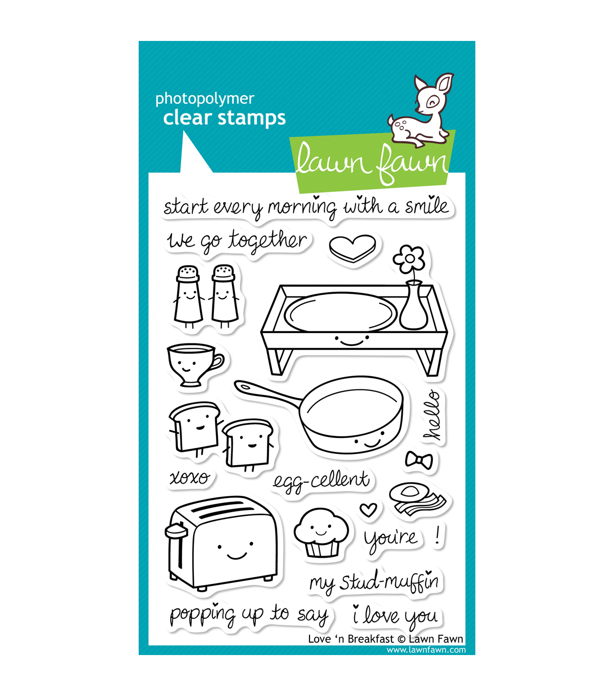 Lawn Fawn Clear Stamps 4\u0022X6\u0022-Love \u0027n Breakfast