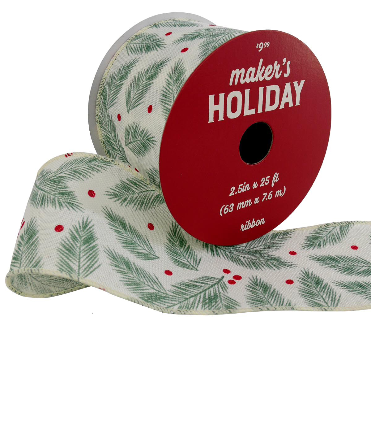 Maker\u0027s Holiday Christmas Ribbon 2.5\u0027\u0027x25\u0027-Tossed Ferns on White
