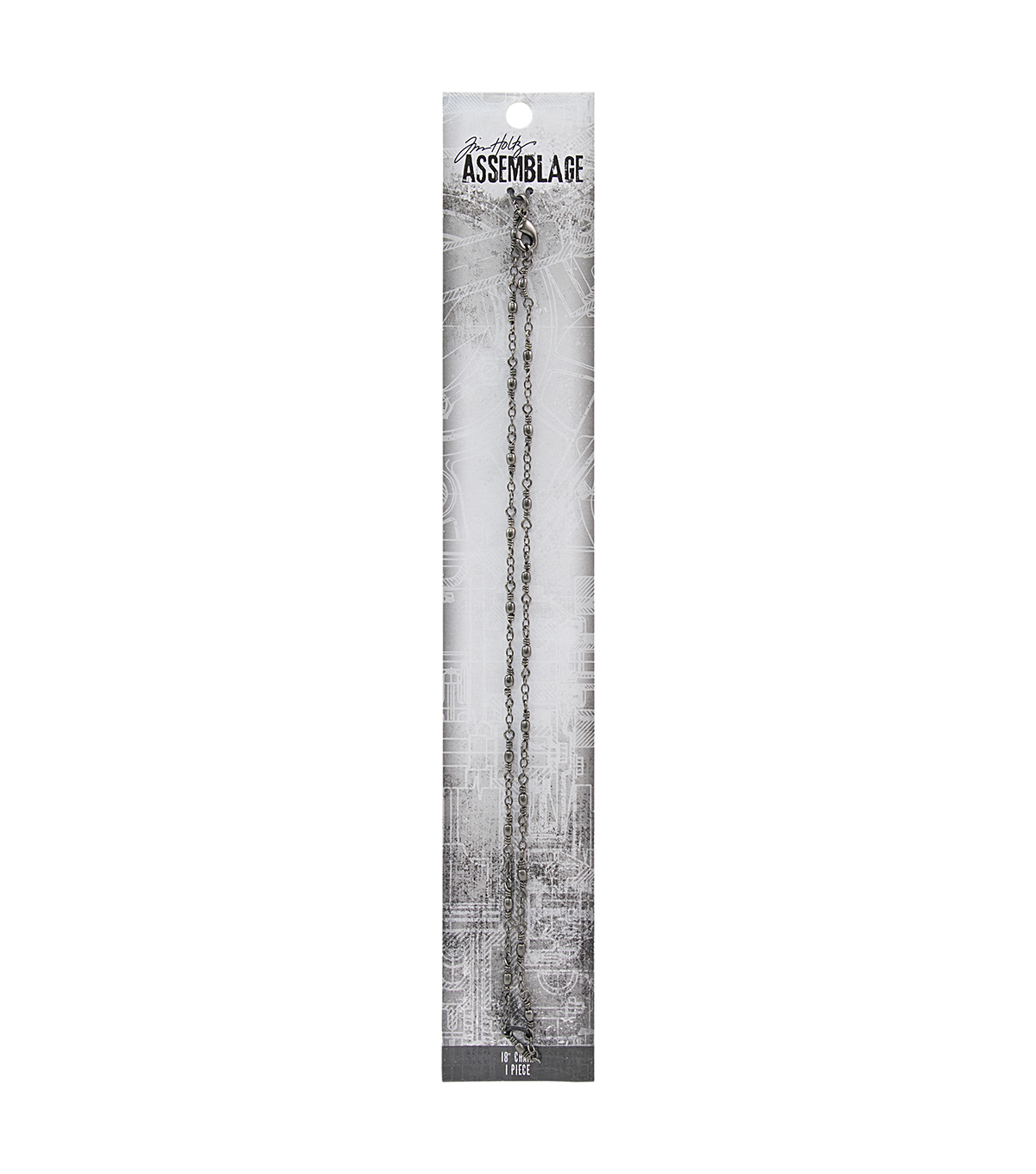 Tim Holtz Assemblage 18\u0027\u0027 Delicate Wired Chain with Beads-Gunmetal