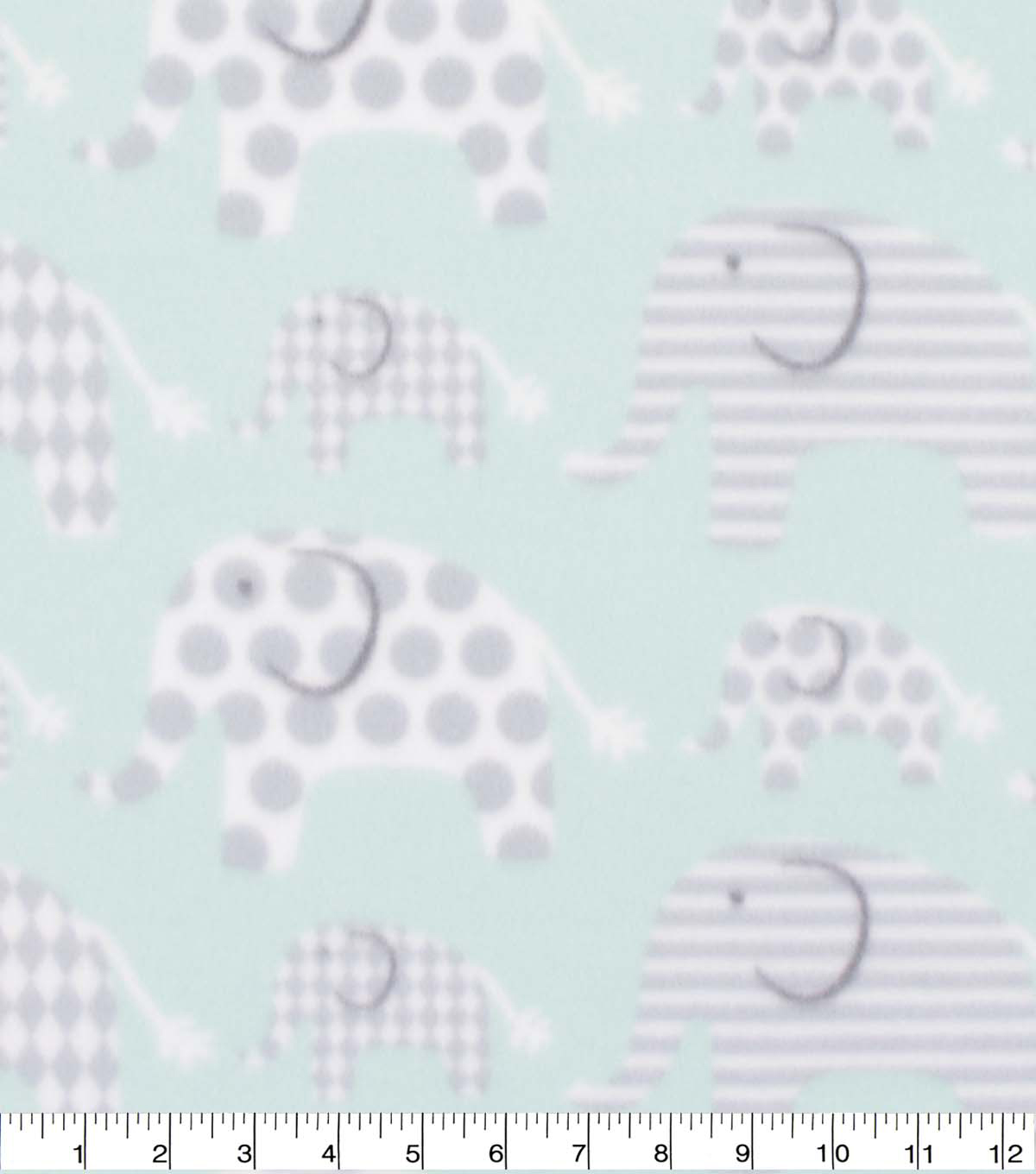 Blizzard Fleece Fabric-Mint Elephant