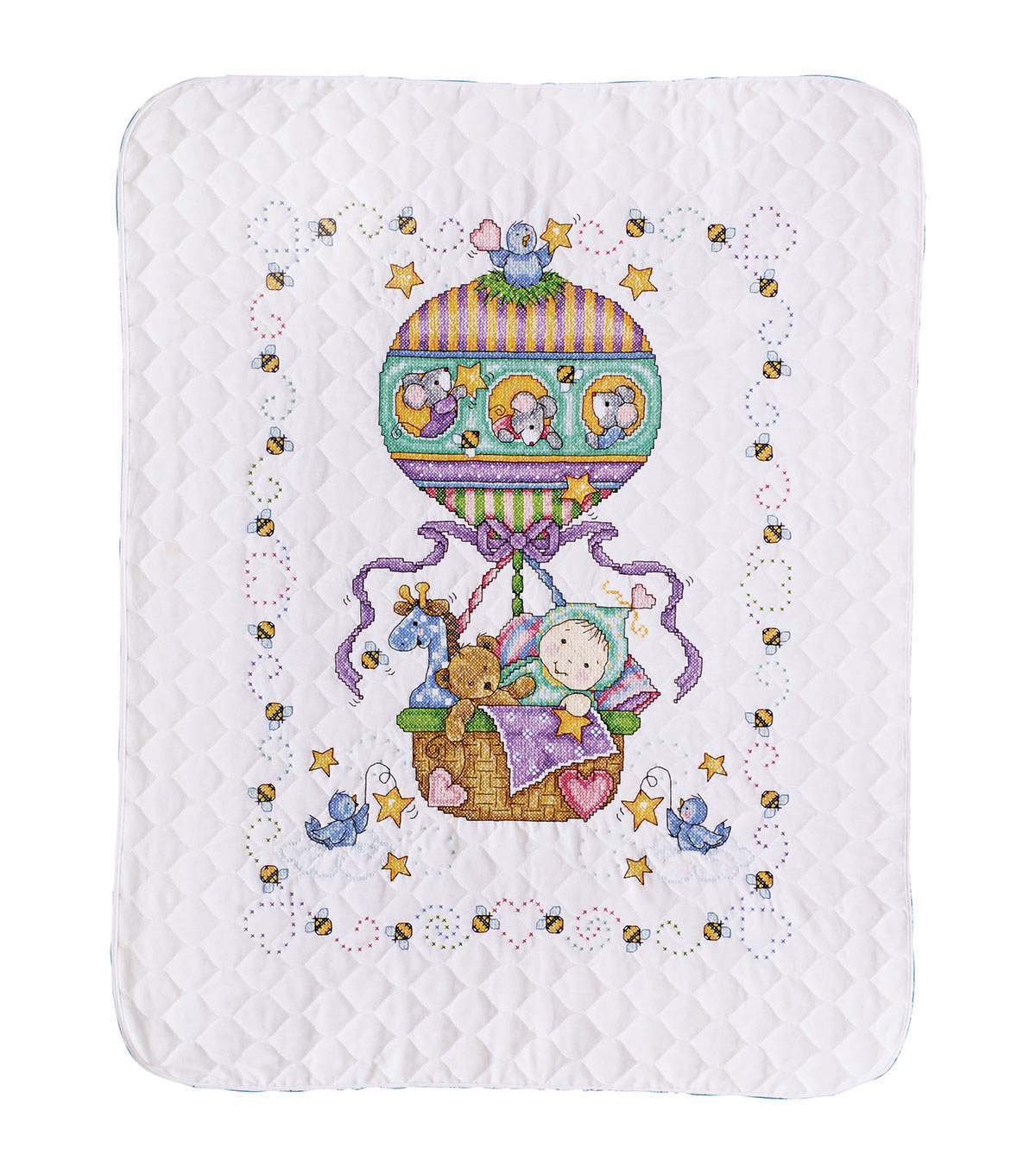 Tobin Balloon Ride stamped-cross-stitch Kit Baby Quilt
