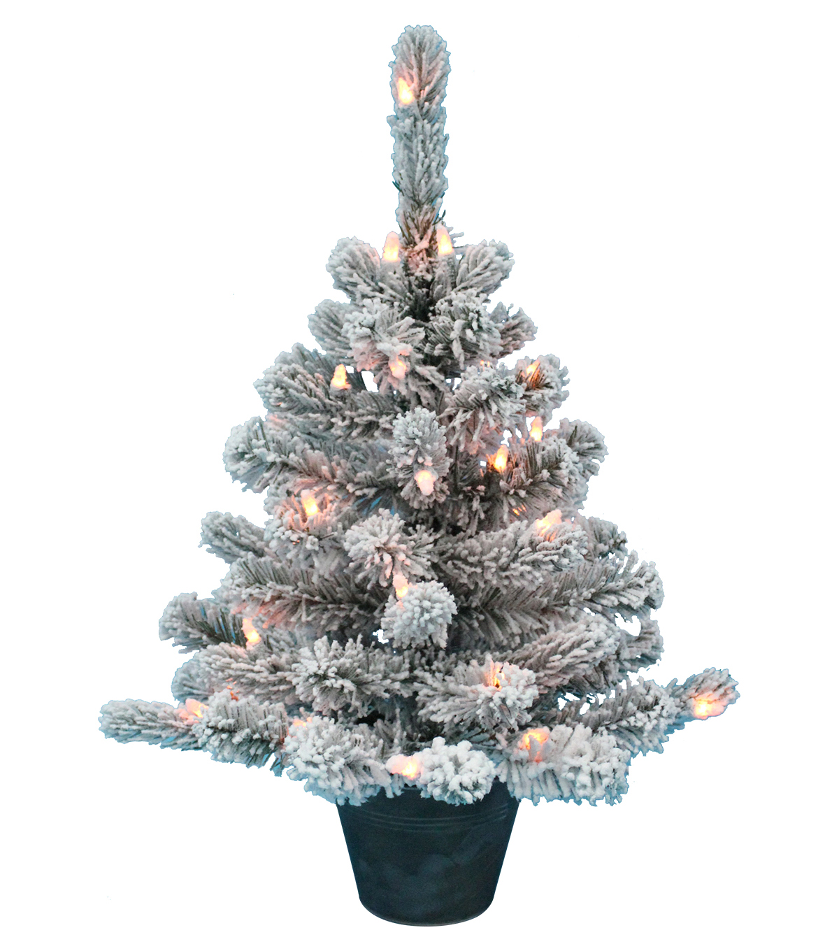 Maker\u0027s Holiday Christmas 2\u0027 Pre-lit Flocked Tree with Tin Base