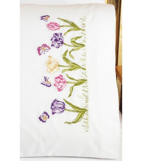 Janlynn Tulip Garden Pillowcase Pair Stamped Embroidery Kit
