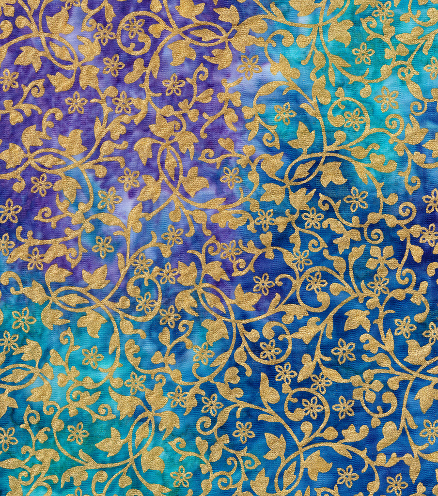 Batik Cotton Fabric-Blue Gold Vines Metallic