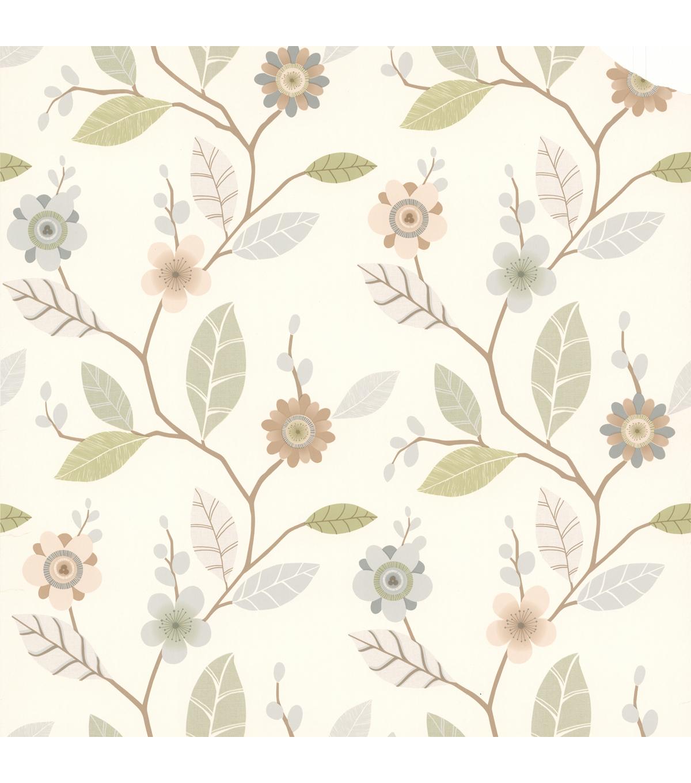 Claudia Light Blue Retro Blossom Wallpaper Sample Joann