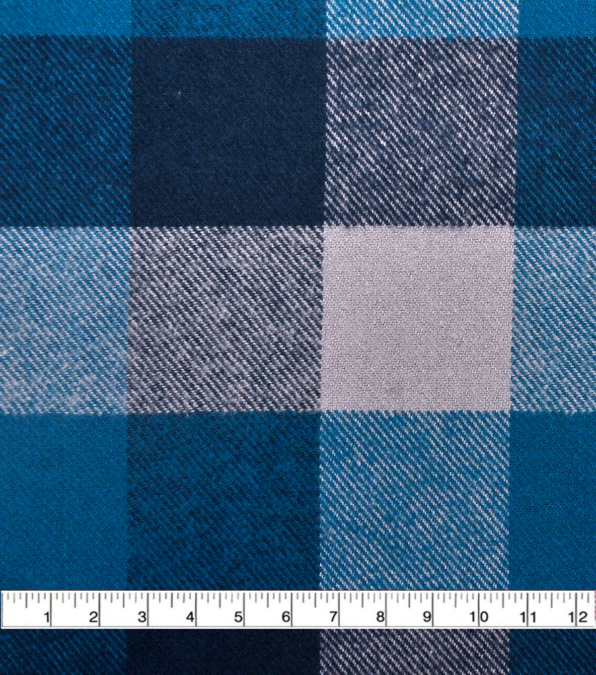 Plaiditudes Brushed Cotton Fabric 44\u0027\u0027-Blue & Gray Buffalo Check