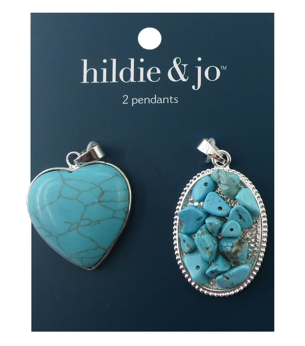 hildie & jo 2 Pack Silver Pendants-Turquoise Stone & Beads