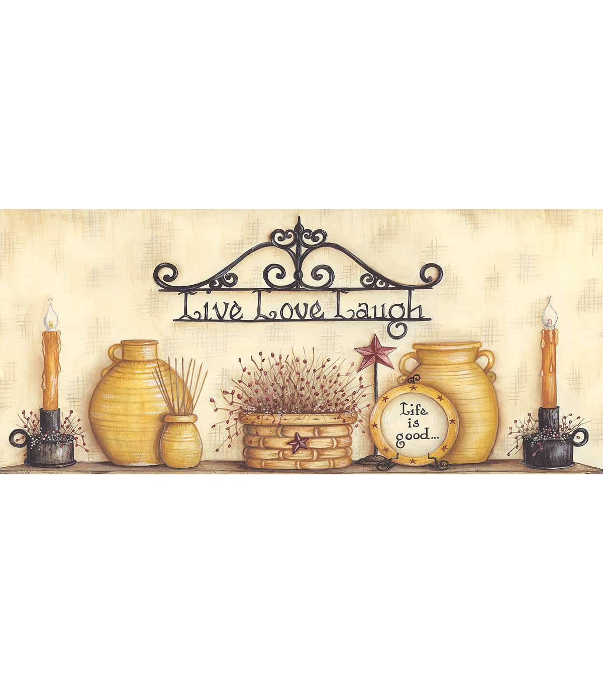 The Good Life Beige Country Life Wallpaper Border Sample