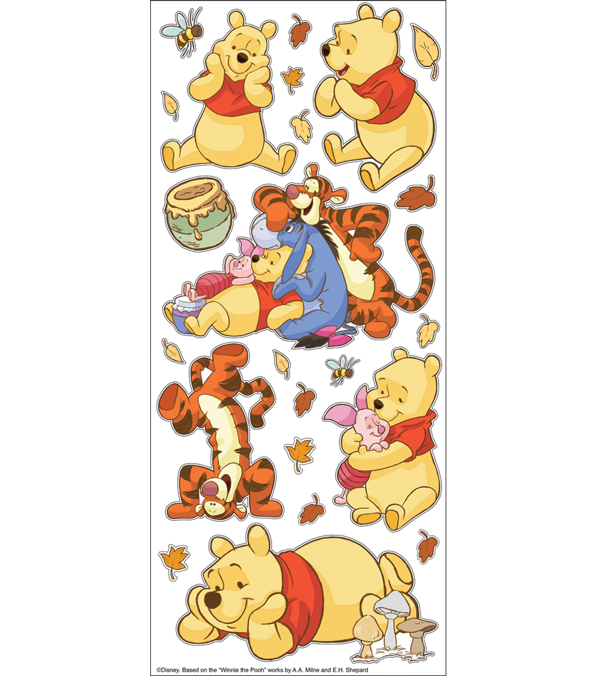 Disney Large Flat Stickers-Pooh With Characters