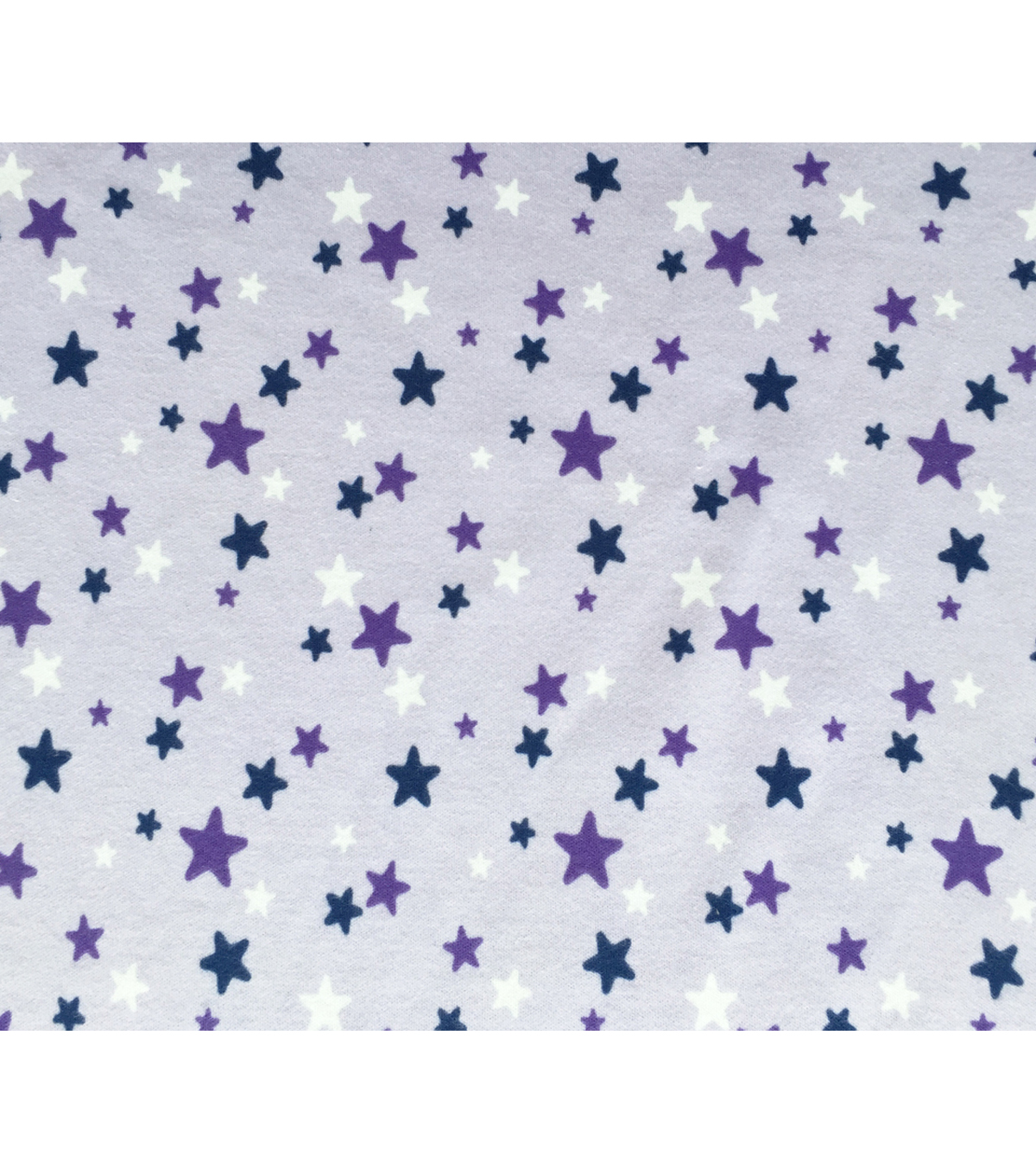 Doodles Juvenile Apparel Fabric-Purple Stars Interlock