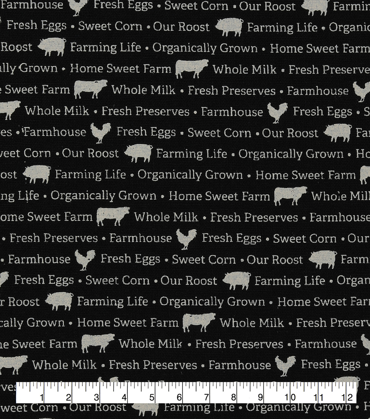 Novelty Cotton Fabric-Home Sweet Farm Words